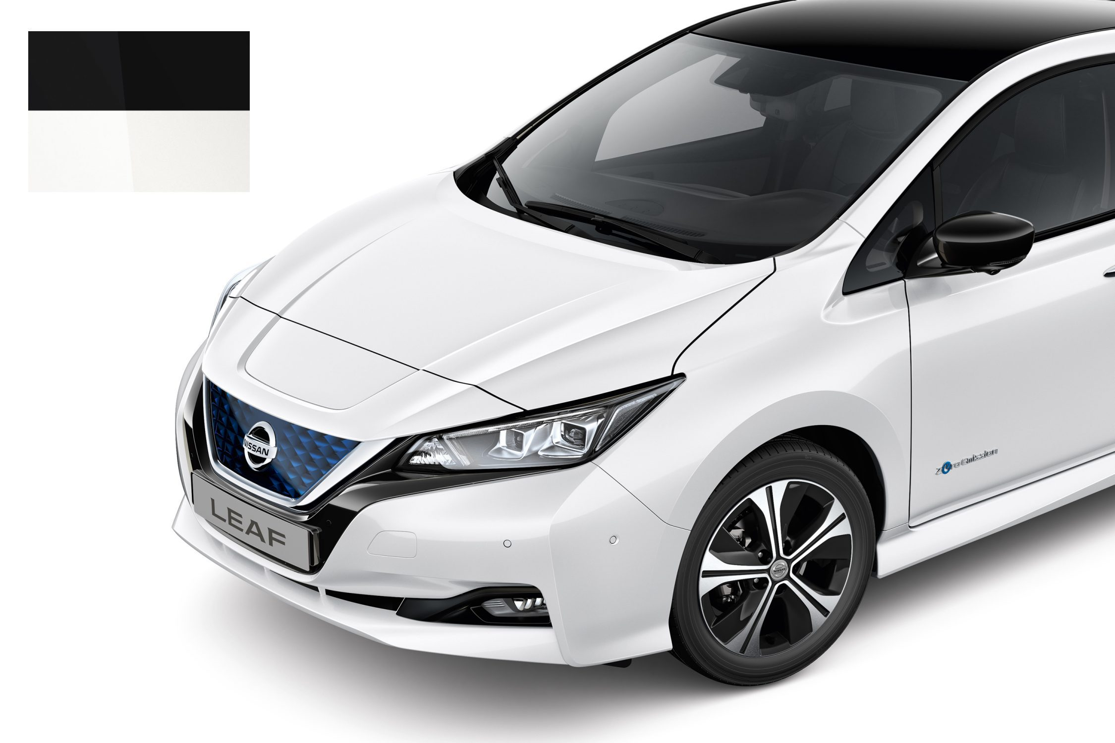 New Nissan LEAF Two Tone White & Black color sample