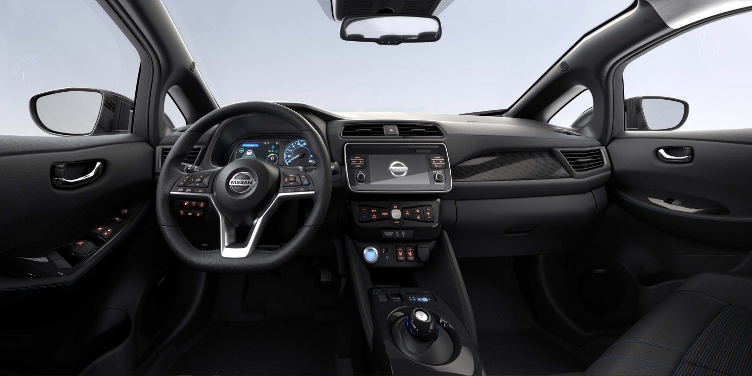 New Nissan LEAF interior with synthetic part leather on SV Premium Grade - Black