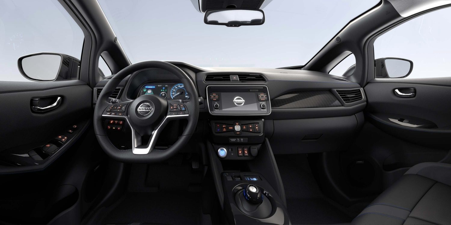 New Nissan LEAF interior with light gray cloth