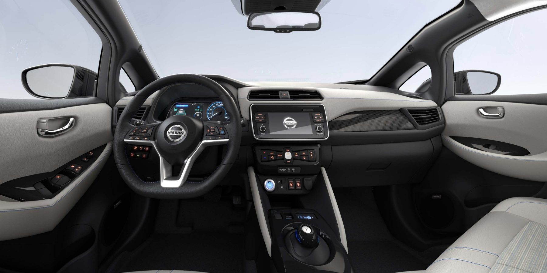 New Nissan LEAF interior with synthetic part leather on SV Premium Grade - Beige