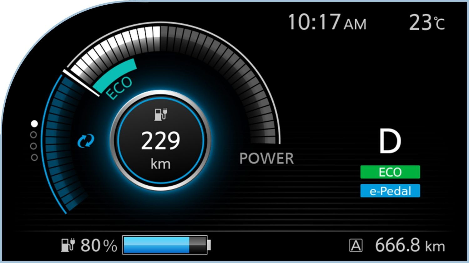 New Nissan LEAF digital information display showing power meter