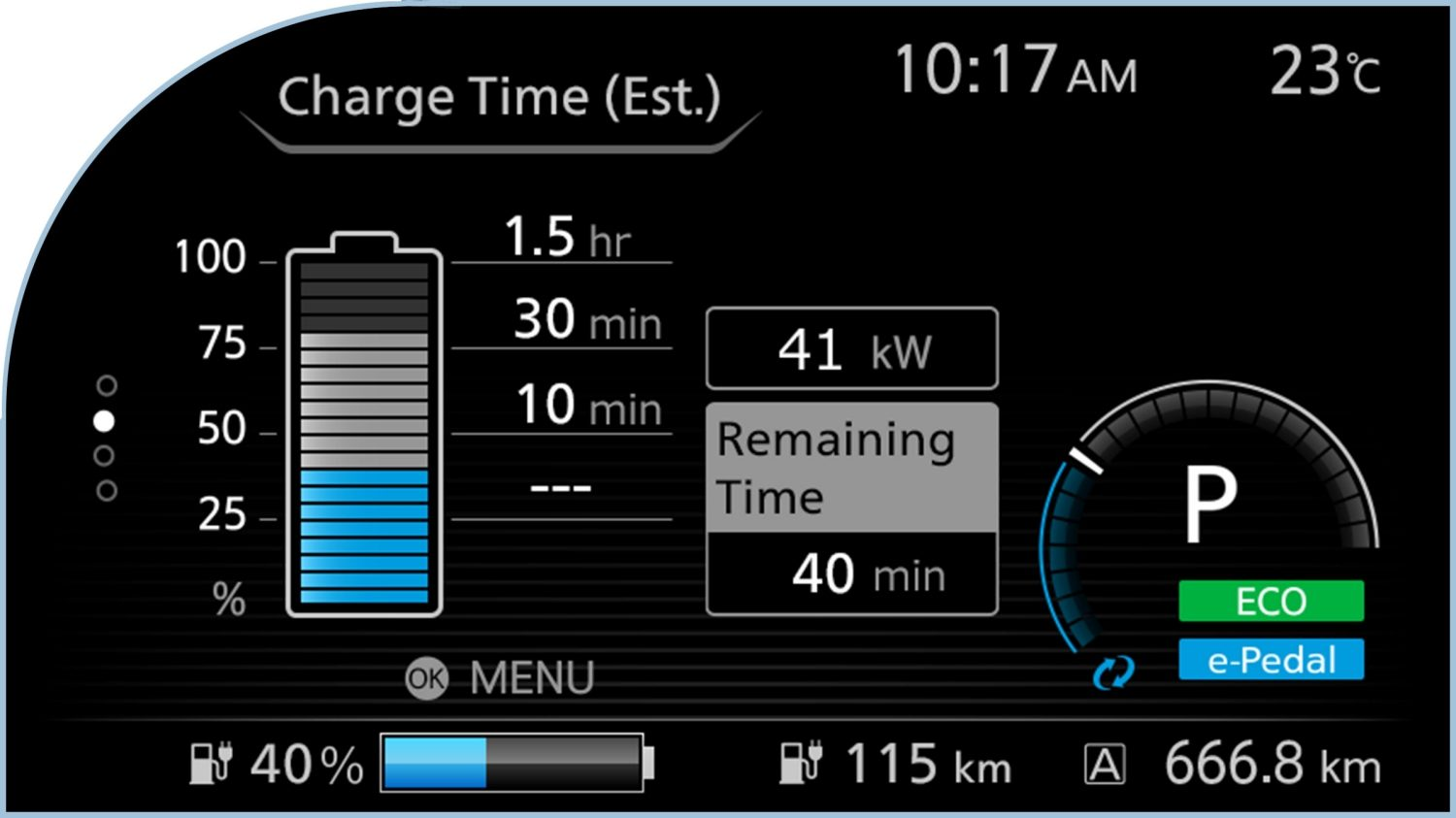 Nissan LEAF digital information display showing range