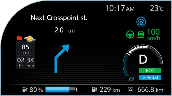 New Nissan LEAF digital information display showing navigation