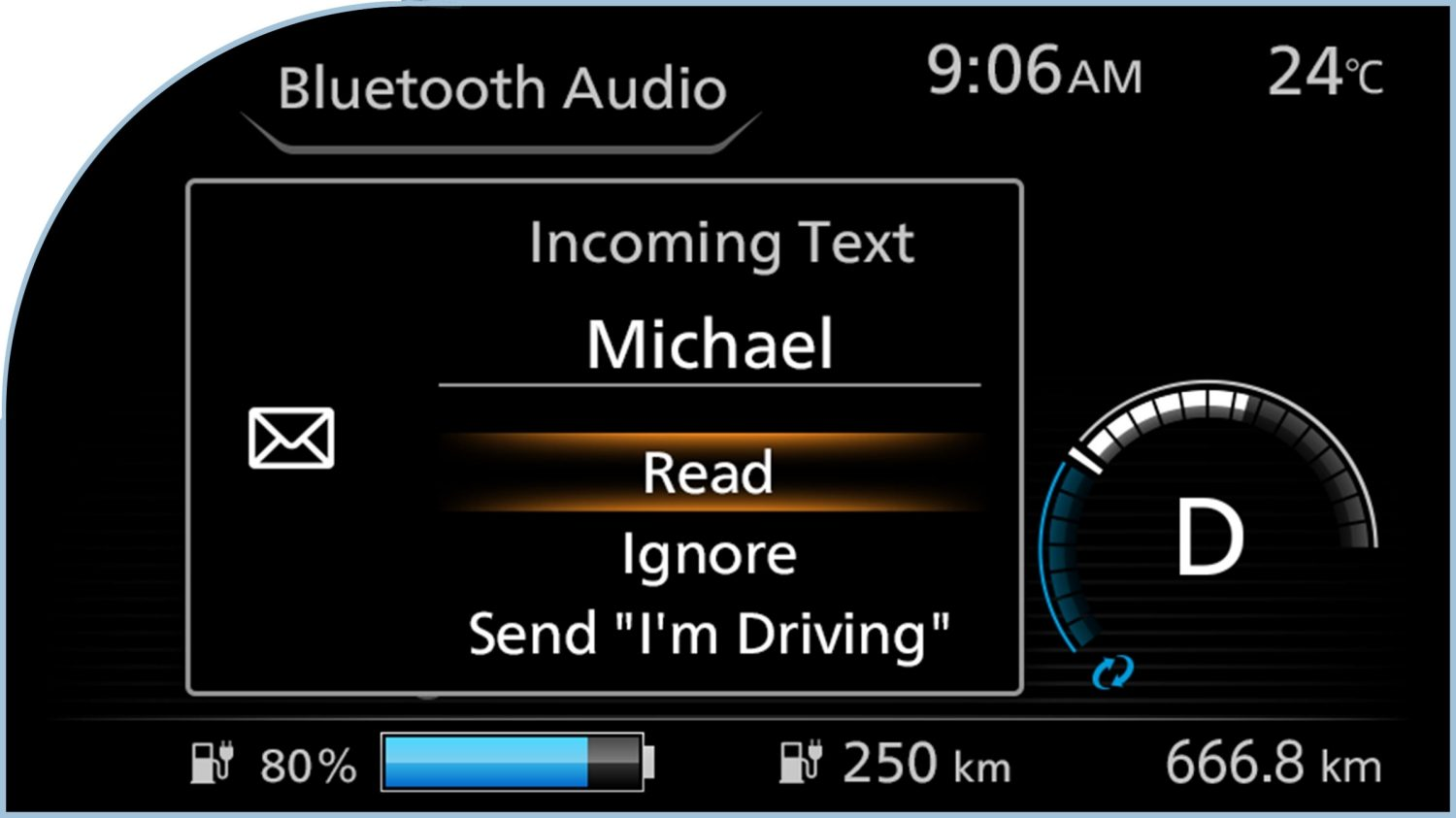 New Nissan LEAF digital information display showing caller ID