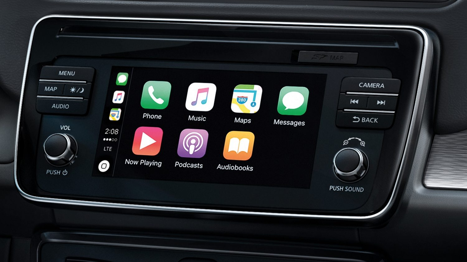 Écran de navigation de la Nouvelle NISSAN LEAF affichant Apple CarPlay