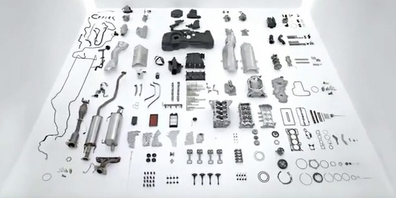 Nissan LEAF showing all the parts in a petrol vehicle