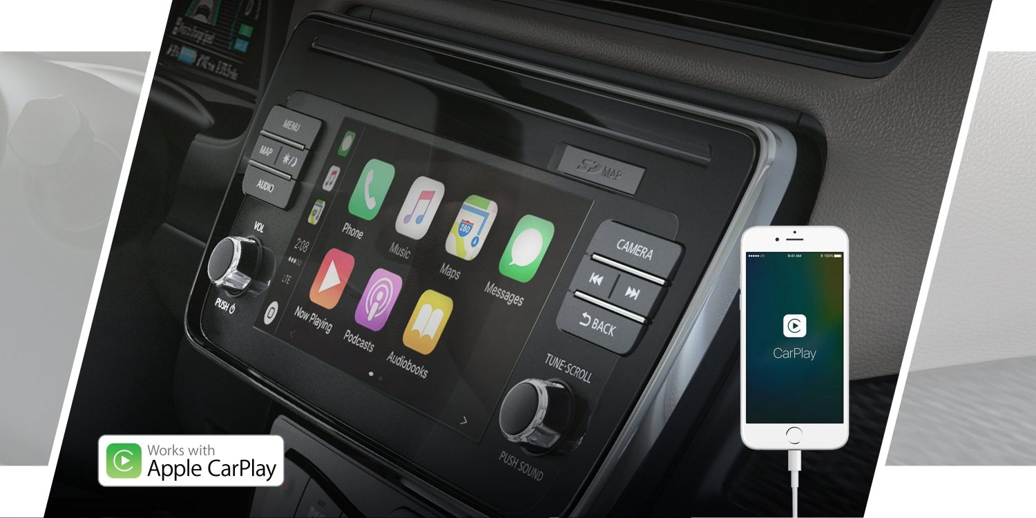 Nissan LEAF navigation screen showing Apple CarPlay®