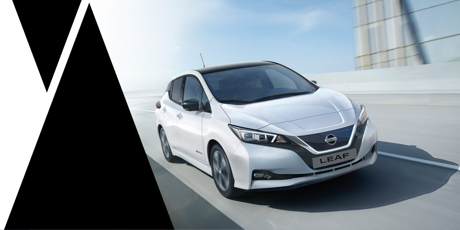 Nissan LEAF shown driving from the front highlighting bold design