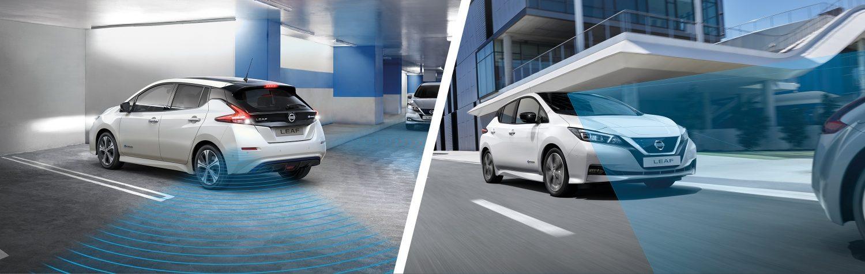 Novi Nissan Leaf pri speljevanju s parkirnega mesta in Novi Nissan Leaf med vožnjo po mestu