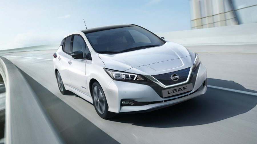New Nissan LEAF driving on a highway