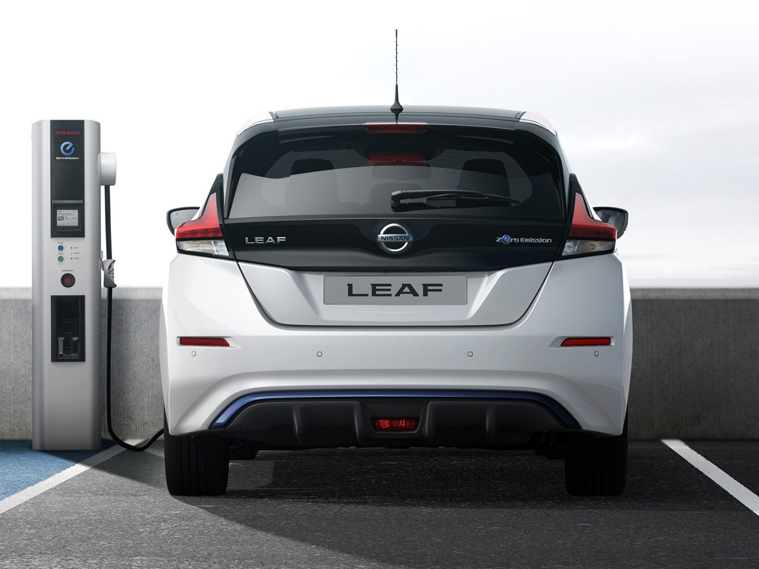 New Nissan LEAF charging at a public charger