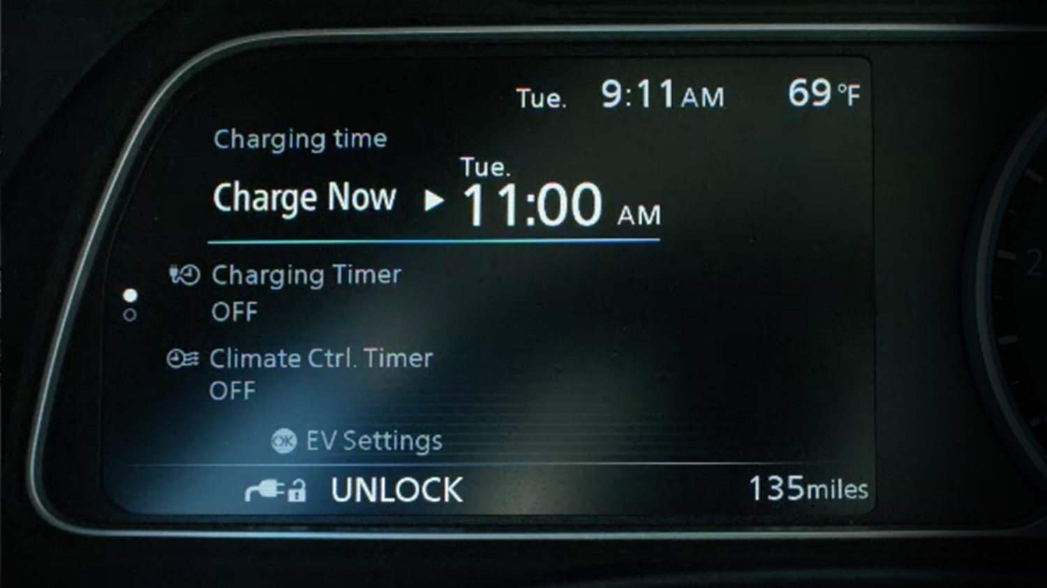 New Nissan LEAF charging timer screen