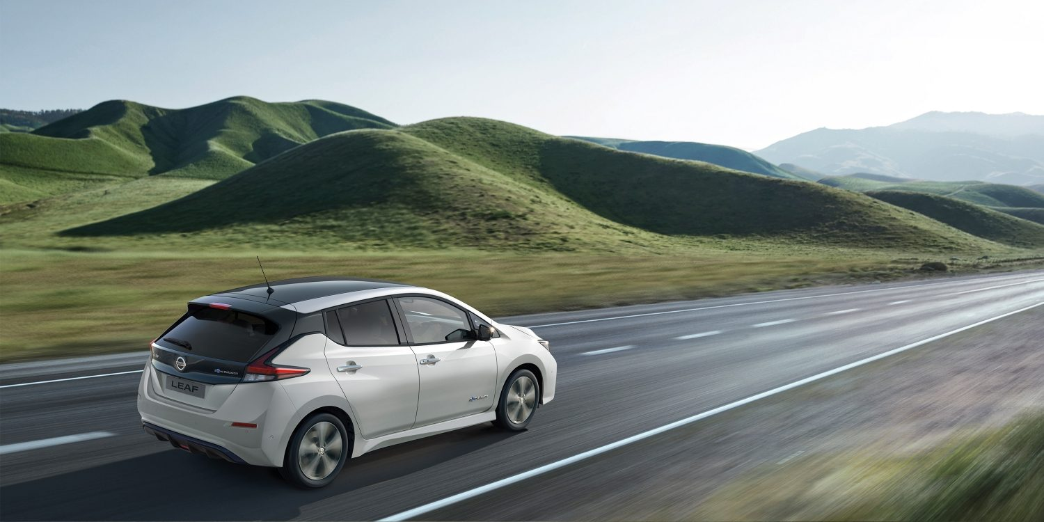 New Nissan LEAF driving on an open road
