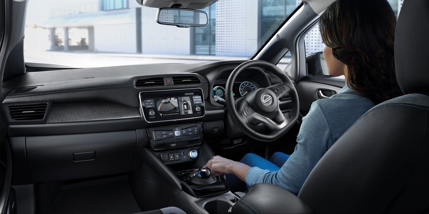 New Nissan LEAF interior showing person driving and using around view monitor