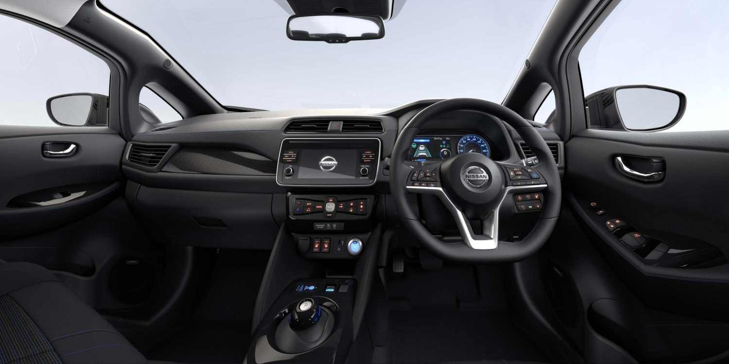 New Nissan LEAF interior with black leather fabric N-Connecta