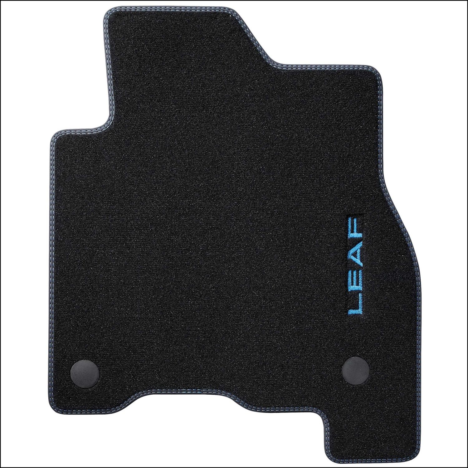 Nissan LEAF velour mat double stitching blue