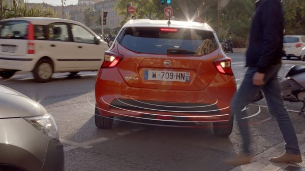 Nissan Micra Intelligent Around View Monitor Senses Pedestrian