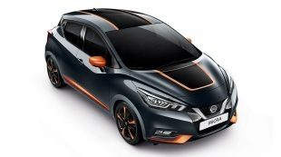 Nissan Micra Exterior Pack Ultimate Roof and Bonnet Decals (Black and Orange)