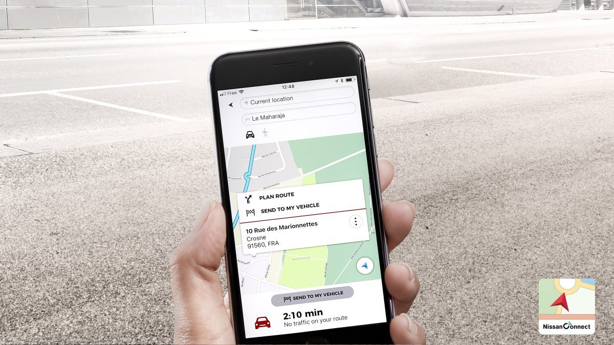 Écran de l'application de navigation porte à porte du Nissan QASHQAI
