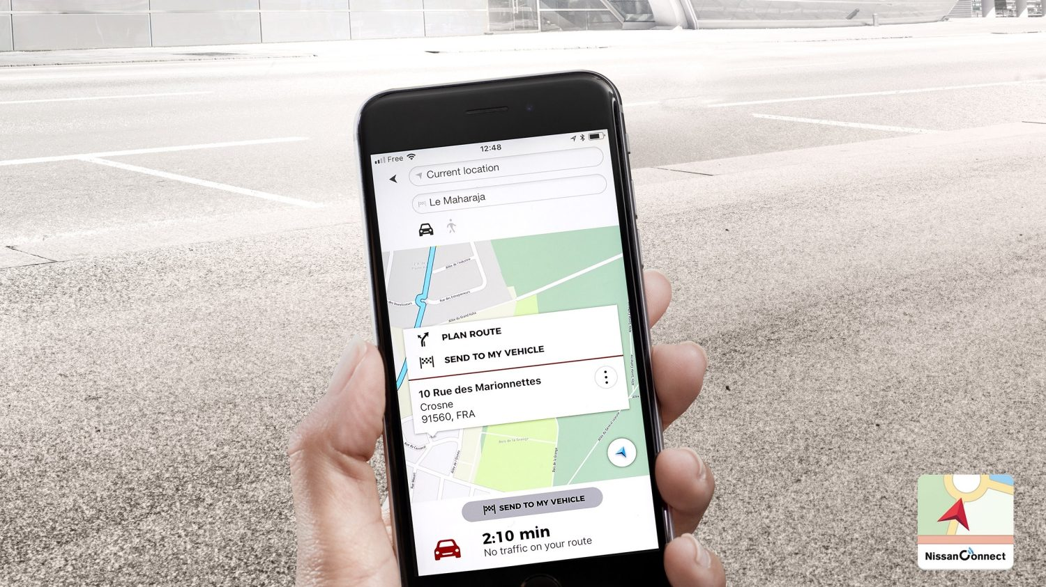 Écran de l'application TomTom de la Nissan MICRA