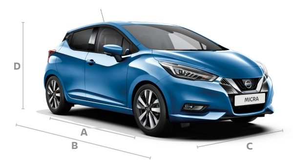 Nissan Micra showing dimension