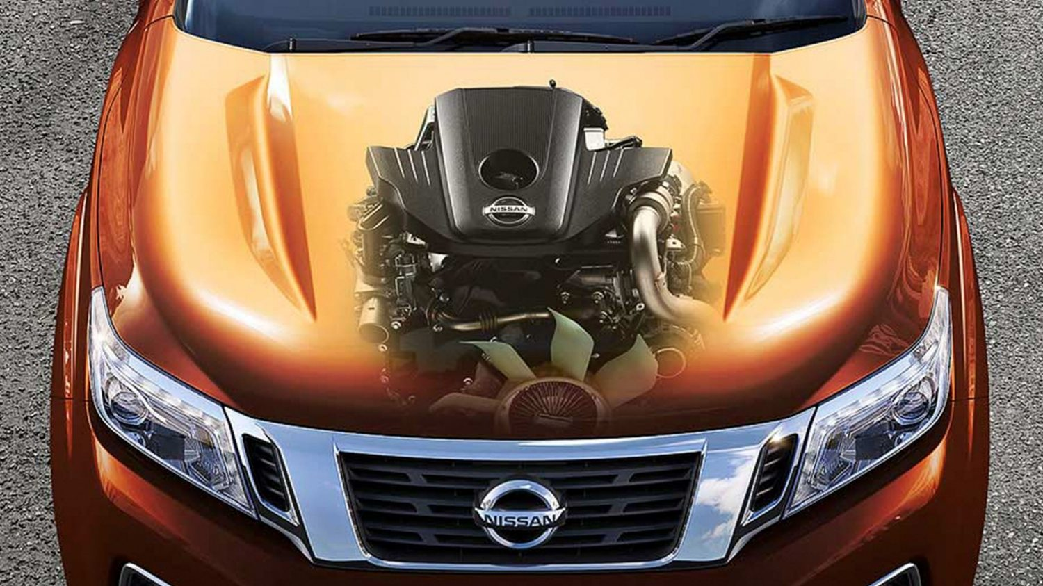 Nissan NP300 Navara - Front high angle view showing engine