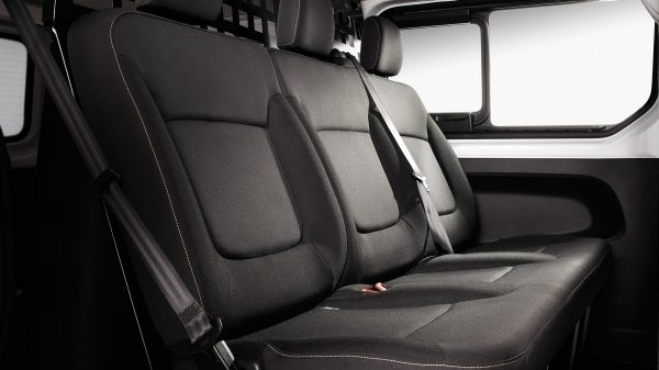Individually contoured rear bench seat for up to three passengers.