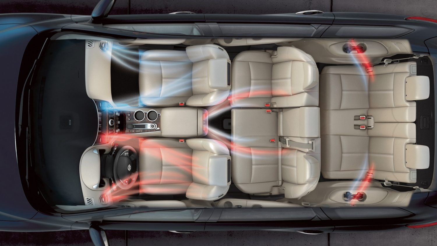 Nissan Pathfinder interior showing heat and air circulation