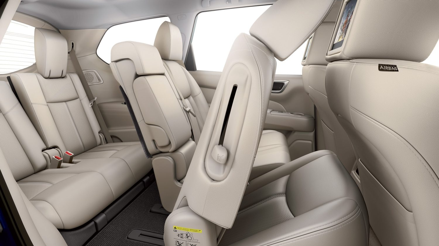Nissan Pathfinder sliding seats, showing EZ flex seating system with easy access to third row