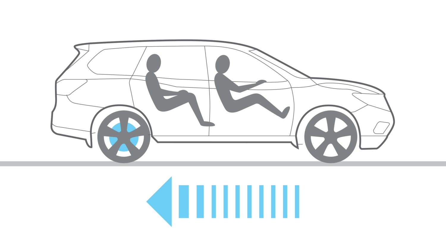 Nissan Pathfinder electronic brake force distribution illustration showing braking power going to rear wheels