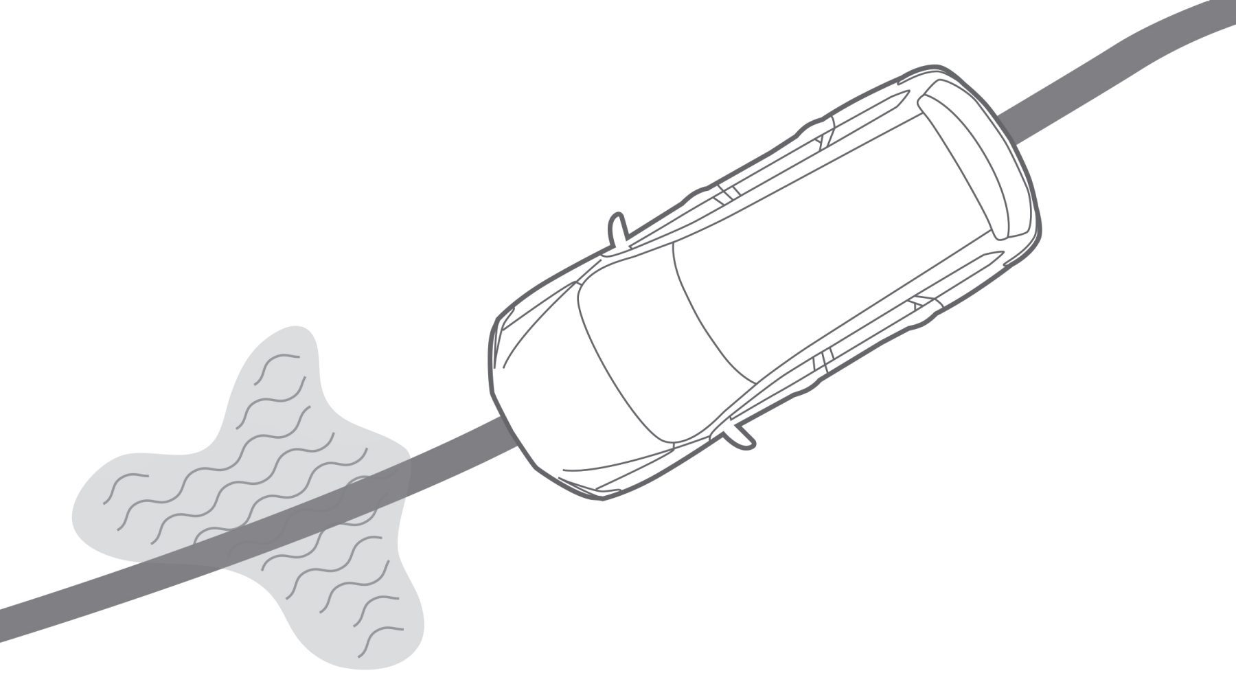 Nissan Traction Control System illustration of vehicle approaching wet spot in road