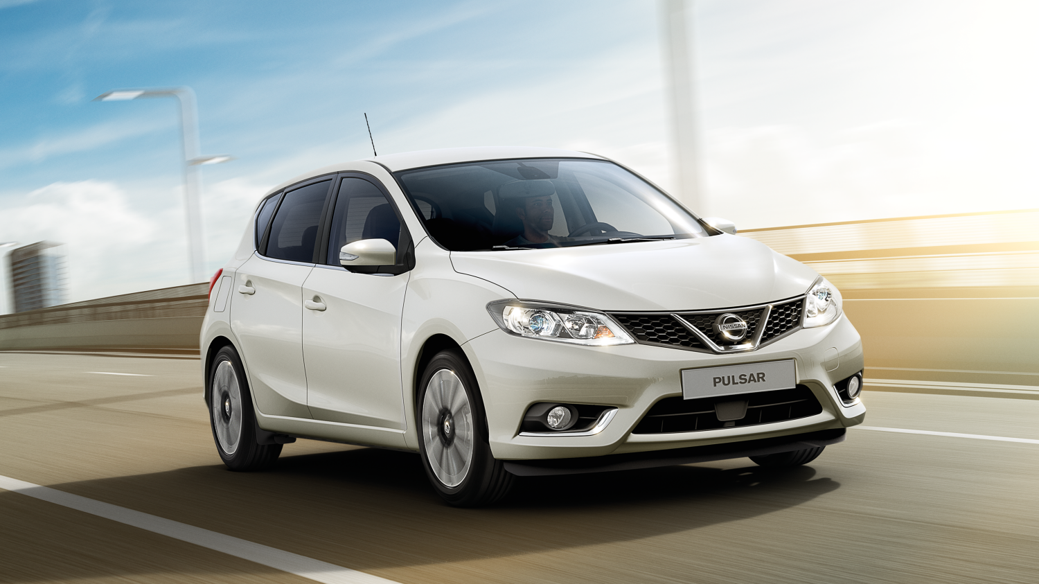 Nissan Pulsar Pearl White - 3/4 Front on Road