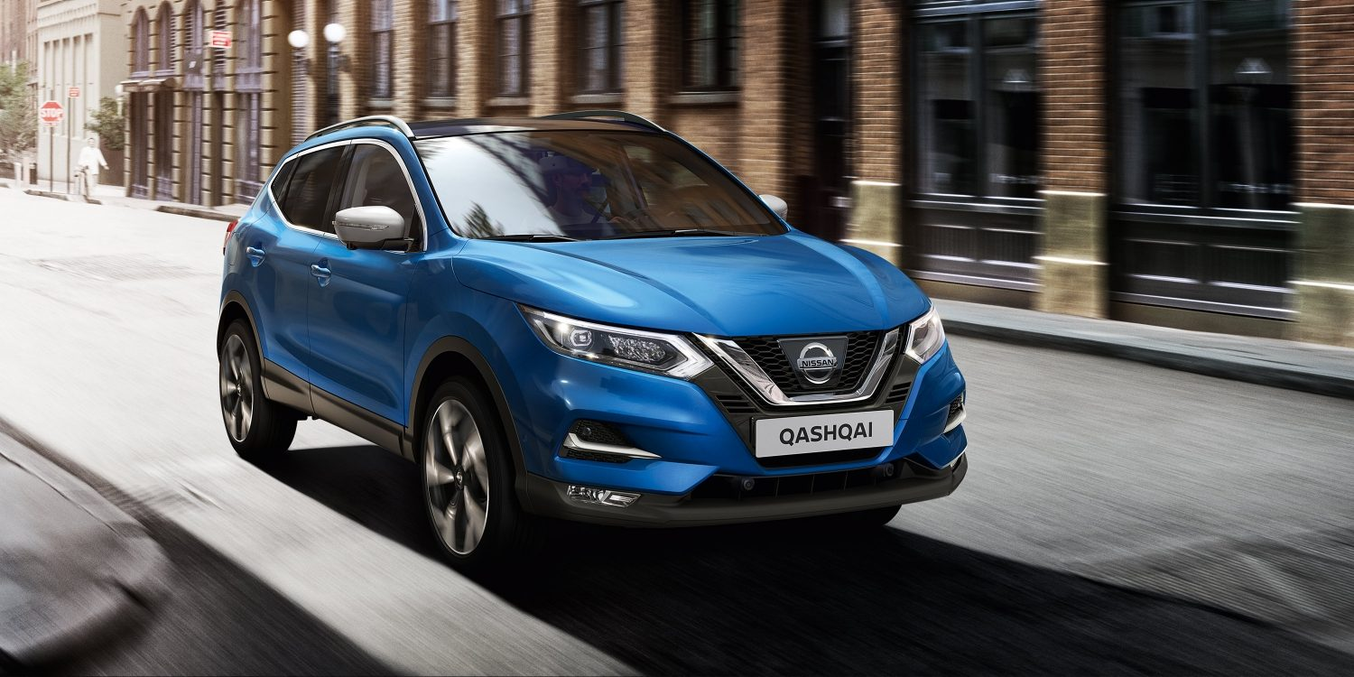 Nissan Qashqai crossover on an urban road