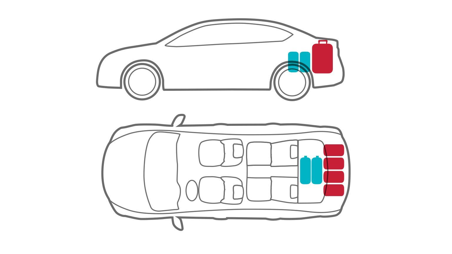 Animation of car with luggage in trunk