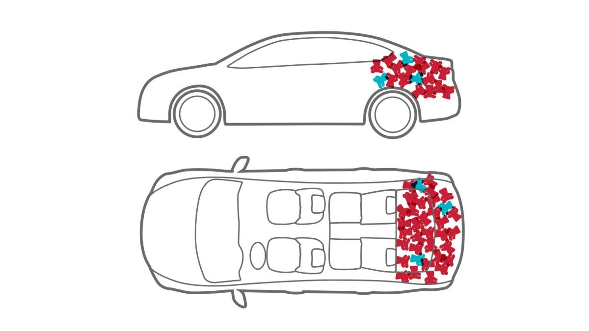 Animation of car with bike in stuffed animals in trunk