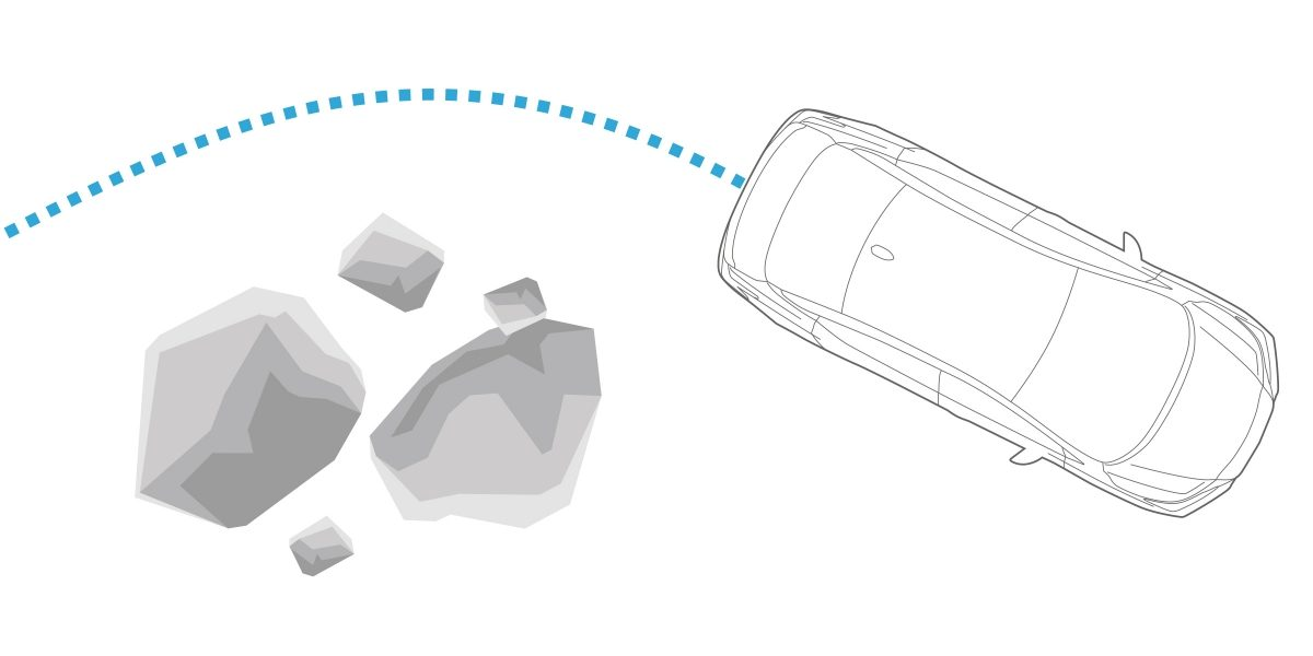 Nissan SUNNY ANTI-LOCK BRAKING SYSTEM illustration of vehicle steering around large rocks in the road