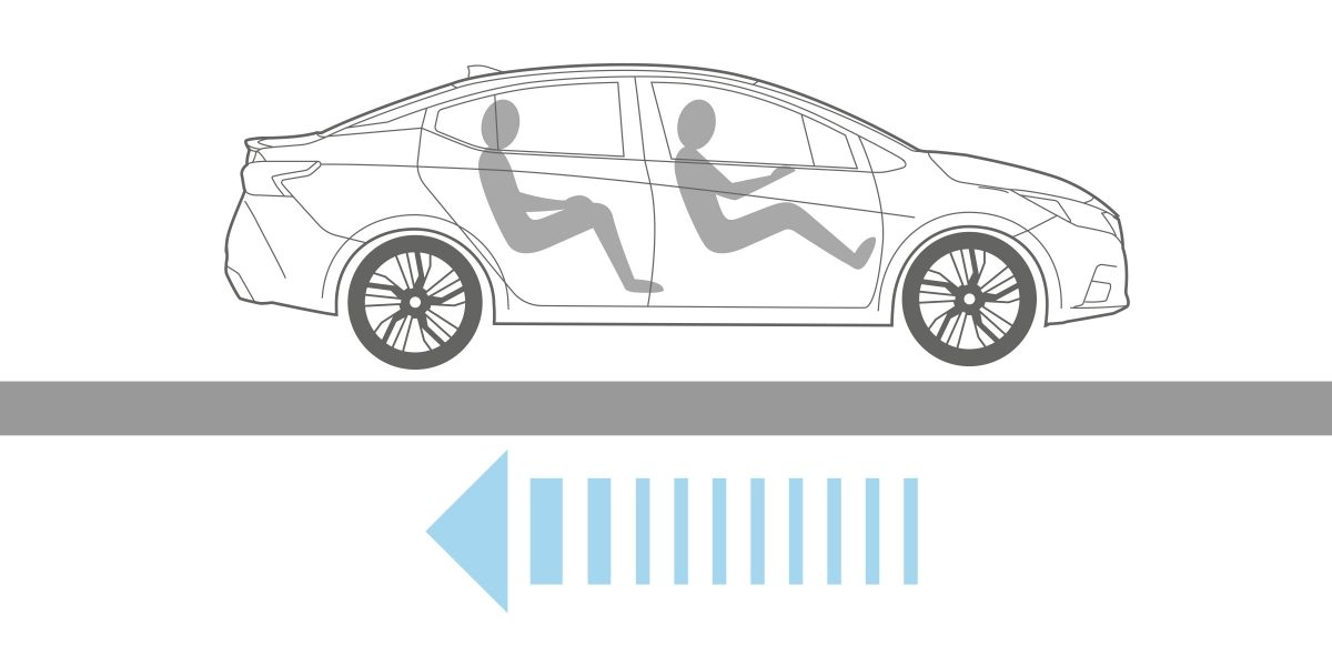 Nissan SUNNY electronic brake force distribution illustration showing braking power going to rear wheels