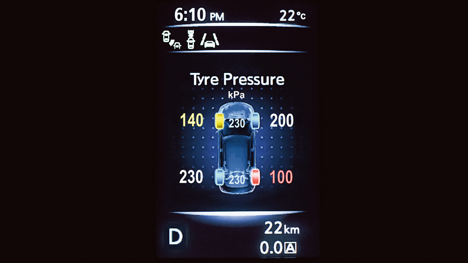 Nissan X-Trail - Tyre pressure system display