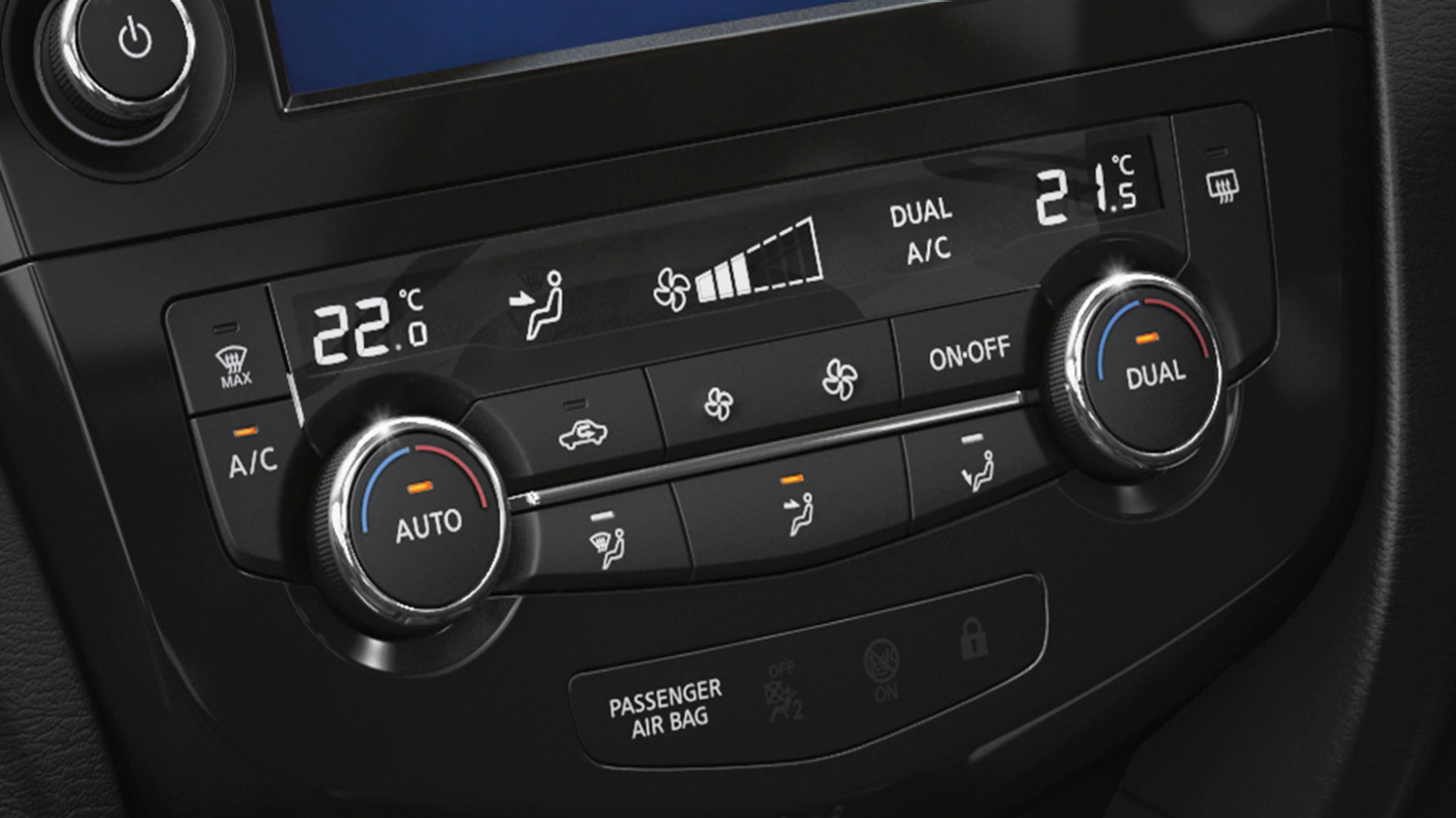 7 seater & 4x4 car features - Temperature controls display | Nissan X-Trail