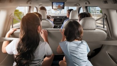 2021 Nissan X-Terra kids enjoying screen with theatre-style  seating