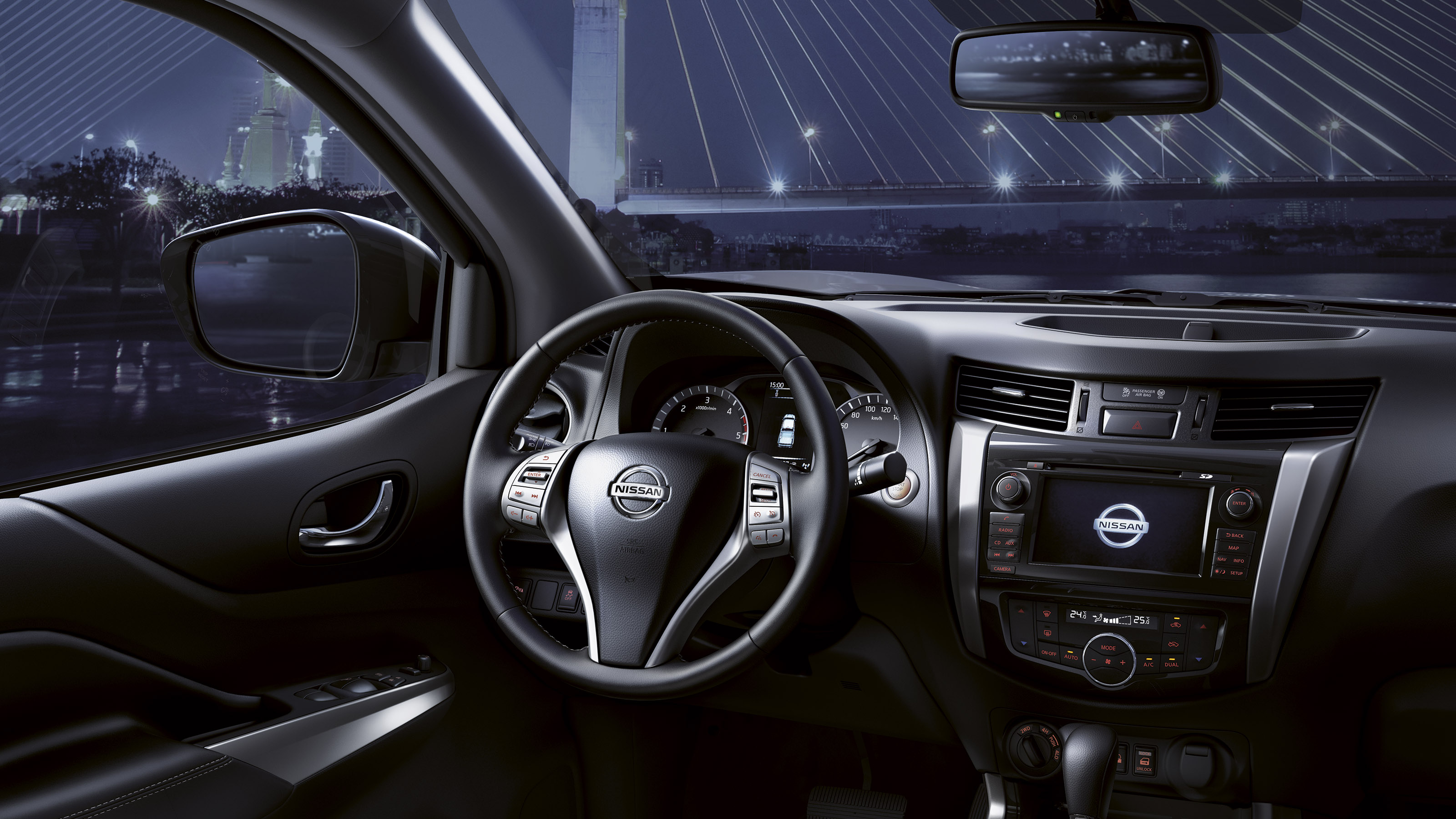 New Nissan Navara Off-Roader at32 steering wheel and dashboard view