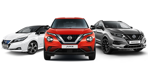 Red Nissan Juke, Grey Nissan Qashqai and White Nissan Leaf car on a white background