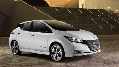 New Nissan LEAF 3/4 front in the city