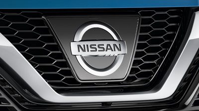 Nissan badge and front grille