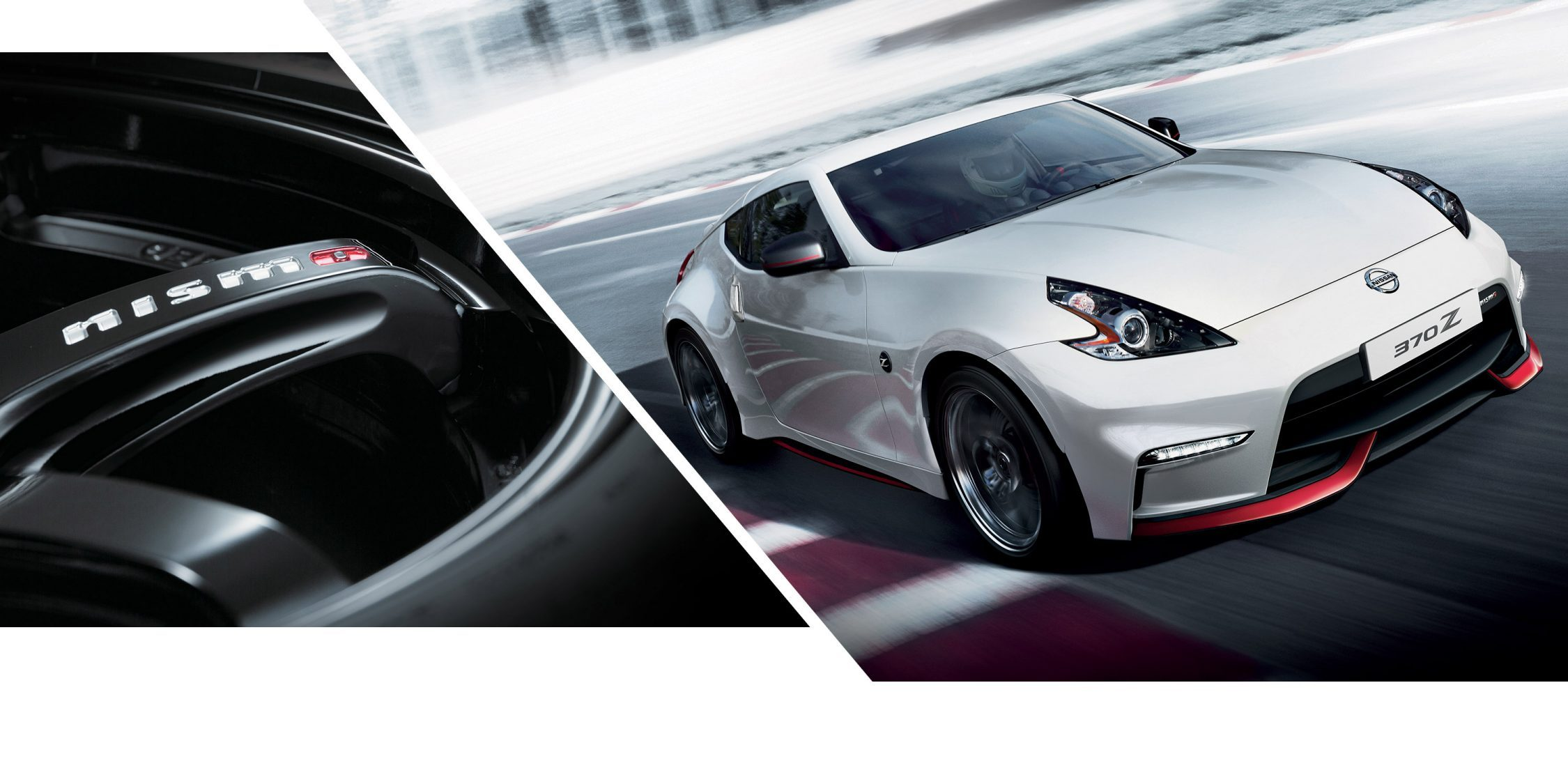 NISMO wheel and 370Z NISMO on racetrack