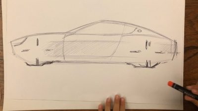 A car drawn with a pencil on paper
