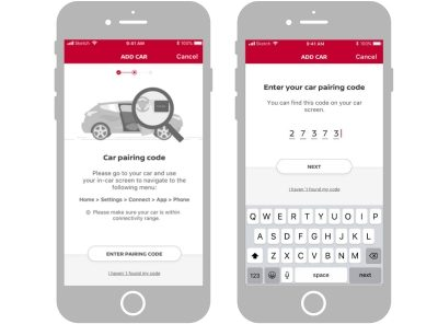 NissanConnect app screenshots showing how to enter the pairing code