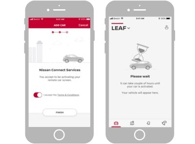 NissanConnect app screenshots showing how to validate and activate