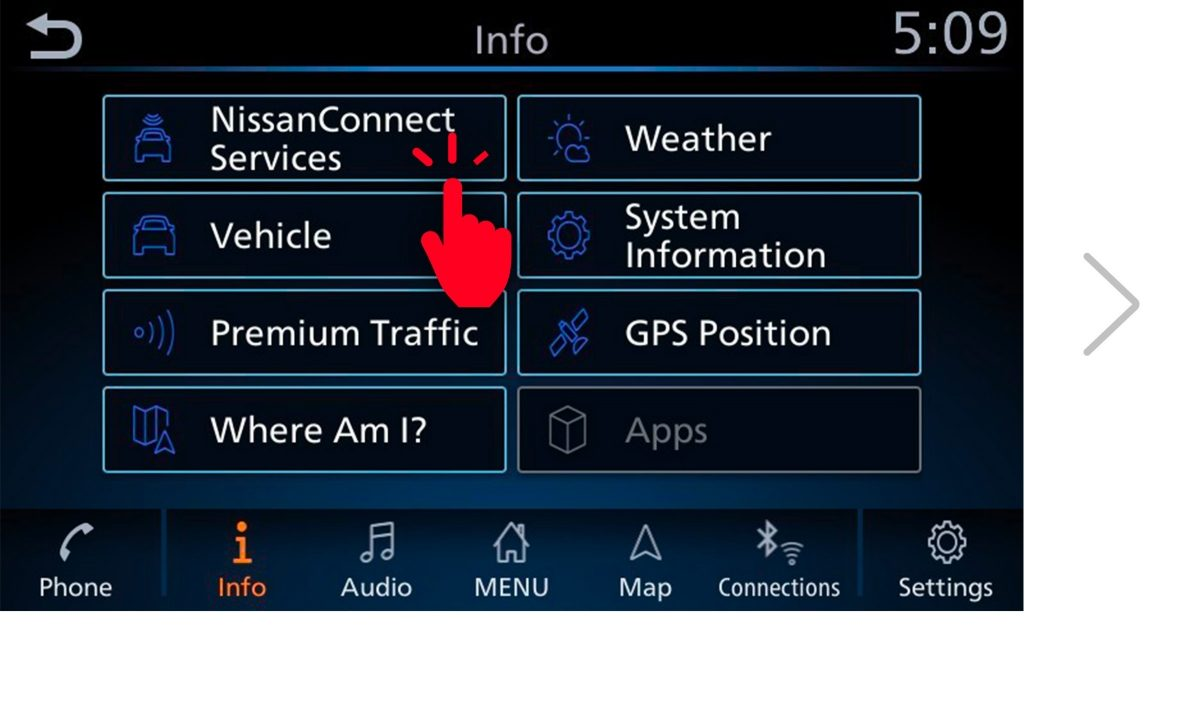 NissanConnect Services pairing code screen 2