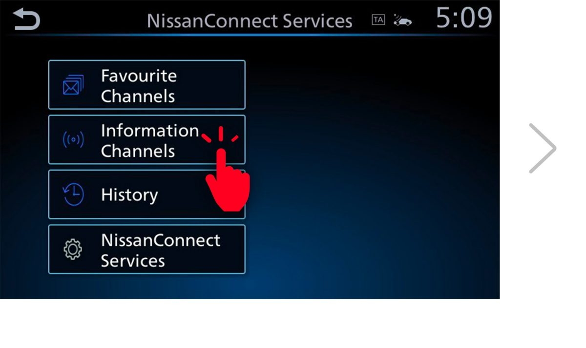 NissanConnect Services pairing code screen 3